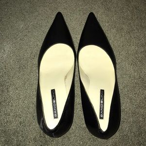 Bandolino black leather pointy toe pumps